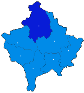 Localisation du district de Mitrovicë/Kosovska Mitrovica au Kosovo