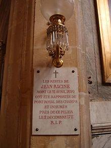 Erinnerungstafel für Jean Baptiste Racine in der Église St-Étienne-du-Mont, Paris (Quelle: Wikimedia)