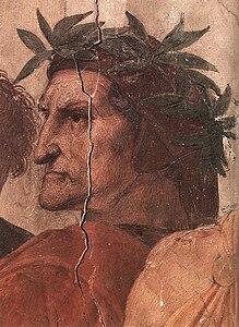 Raffaello, Disputa, dettaglio Dante, Stanza della Signatura, Palazzo Pontifici, Vaticano