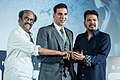 Rajinikanth with Shankar and Akshay kumar at the 2.0 Trailer Launch.jpg