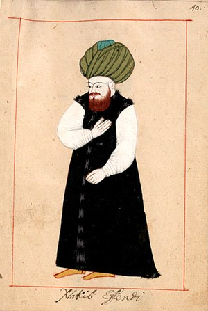 Green in Islam - In the Ottoman Empire, the wearing of a green turban was a privilege afforded to the descendants of Muhammad (drawing by Claes Rålamb, 1657).