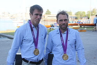Rowing at the 2012 Summer Olympics - Lightweight double sculls gold medalists Mads Rasmussen and Rasmus Quist Hansen.