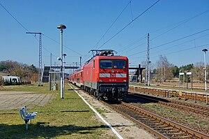 Neustrelitz–Warnemünde railway - Train on line RE 5 from Rostock to Lutherstadt Wittenberg in Kargow station