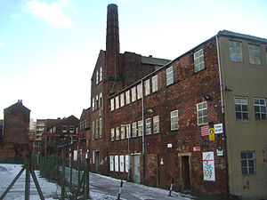 Taylor's Eye Witness Works - The rear of the works showing the 40 foot (approx) chimney.