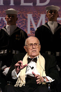 A visibly frail Auerbach speaking after being honored with the Lone Sailor Award on October 25th, 2006. Three days later, he died.