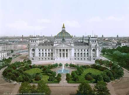 The new Reichstag building in 1894 Reichstagsgebaeude.jpg