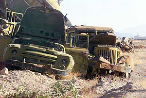 Reagan Doctrine - Remains of Soviet military vehicles in Kandahar, Afghanistan destroyed by the U.S.-backed mujahideen.