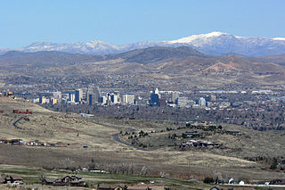 View of downtown Reno, Nevada from the Arrow Creek development in the south of the valley