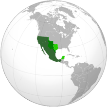 The Mexican Republic in 1843. The light-green areas are parts of Mexico that broke off to form Texas in the north and Yucatan in the south. The medium-green area in the north is disputed between Texas and Mexico.