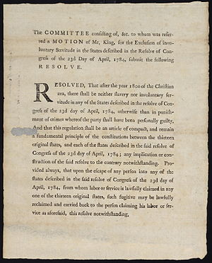 Fugitive slave laws - Rufus King's failed resolution to re-implement the slavery prohibition in the Ordinance of 1784.