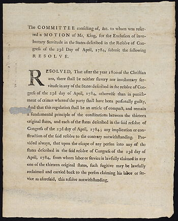 Resolution to prohibit slavery and indentured ...