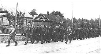 Rēzekne - German POW march through Rēzekne 1940s