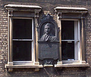 A portrait bust of Rhodes on the first floor of No. 6 King Edward Street marks the place of his residence whilst in Oxford.