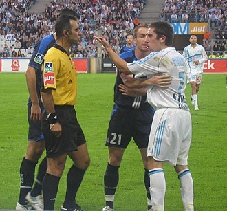 Franck Ribéry - Franck Ribéry confronting referee Hervé Piccirillo.