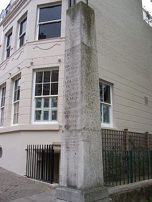 Richmond Bridge, London - The milestone at the Surrey end of the bridge