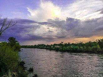 Rio Grande - Island within the Rio Grande from the North Valley in Albuquerque, New Mexico