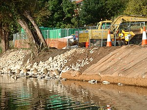 British Waterways - Bank repair on the River Avon