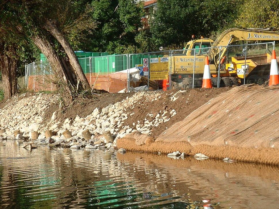River bank repair on the River Avon, Saltford