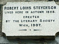 Photo of Robert Louis Stevenson stone plaque
