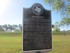 Robert R. Young - Young is honored with an historical marker near the Canadian River in his hometown of Canadian, Texas. (Click to read)