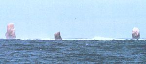 Rocas Alijos - Rocas Alijos from the East (South Rock to the left)
