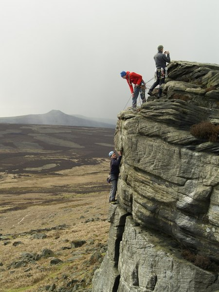 File:Rock Climbers on High Neb, Stanage Edge - geograph.org.uk - 752673.jpg