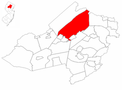 Rockaway Township highlighted in Morris County. Inset map: Morris County highlighted in the State of New Jersey.