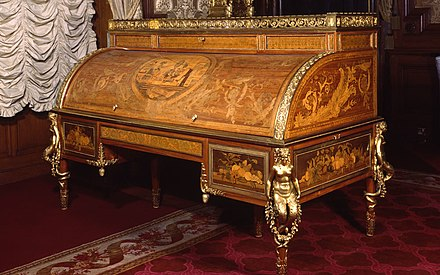 Rolltop desk dated 1777-1781 at Waddesdon Manor, possibly made for Beaumarchais Rolltop desk, 1777-1781 at Waddesdon Manor.jpg
