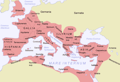 Map of the Roman Empire, with the provinces, after 120.