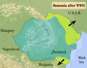 Military occupations by the Soviet Union - Map of Romania after World War II indicating lost territories.