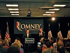 United States presidential election in Iowa, 2012 - Before the Iowa Caucus, presidential candidate Mitt Romney taking questions in Des Moines, Iowa. November 22, 2011.