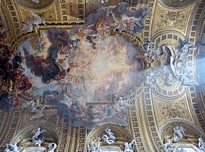 The ceiling of Il Gesù church by Giambattista Gaulli