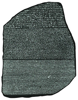 A picture of the Rosetta Stone, in a high cont...