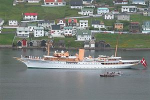The Dannebrog visiting Vágur, Faroe Islands, 2005
