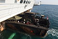 Royal Marine Landing Craft Entering HMS Bulwark's Dock MOD 45158373.jpg