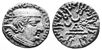 Rudrasimha I - Coin of Rudrasimha I, dated 114 Saka Era (192 CE).