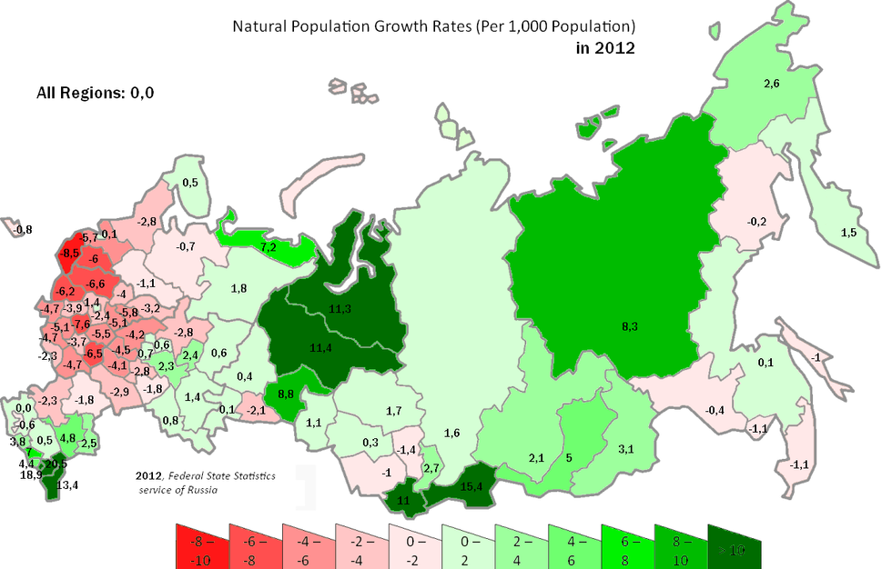 Russia natural population growth rates 2012