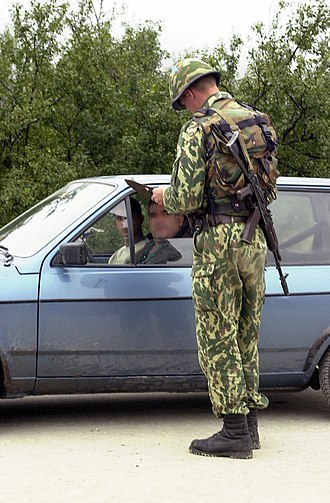Russian Ground Forces - A Russian soldier at a checkpoint in Kosovo in 2001.
