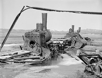 National Register of Historic Places listings in Nome Census Area, Alaska - Image: Rusting locomotives near Nome