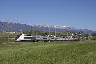 SNCF TGV POS - SNCF TGV Lyria 4403 at Satigny running from Genève to Paris Gare de Lyon