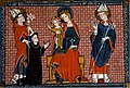 Saint Aubin présentant et recommandant un moine à Notre Dame et à son divin Fils. Décrétales de Grégoire VIII commentées par Bernard Parmen.jpg