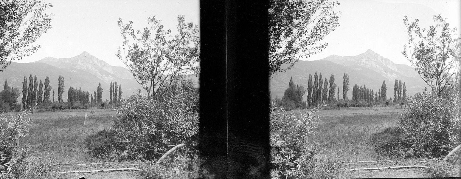 Fonds Trutat - Photographie ancienne  Cote: TRU C 477 Localisation: Fonds ancien Original non communicable  Titre: Saint Béat: pic du Gar  Auteur: Trutat, Eugène Rôle de l'auteur: Photographe  Lieu de création: Haute-Garonne (Midi-Pyrénées) Date de création: 20e siècle, 1e moitié  Mesures: 11 x 5 cm  Mot(s)-clé(s):  -- Sommet (montagne) -- Pic (montagne) -- Végétation -- Arbre -- Peuplier  -- Haute-Garonne (Midi-Pyrénées) -- Saint-Béat (Haute-Garonne; canton)  -- 20e siècle, 1e moitié  Médium: Photographies Médium: Positifs sur plaque de verre -- Noir et blanc -- Paysages de montagne -- Stéréogrammes   Bibliothèque de Toulouse. Domaine public