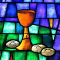 Saint James the Greater Catholic Church (Concord, North Carolina) - stained glass, chalice & loaves.JPG
