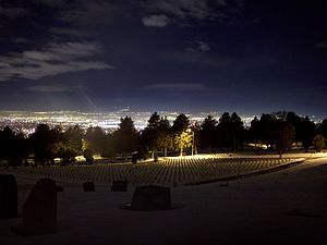 Salt Lake City Cemetery - The northern section of the cemetery at night, looking towards Salt Lake City
