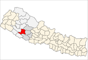 Salyan District i Rapti Zone (grå) i Mid-Western Development Region (grå + lysegrå)
