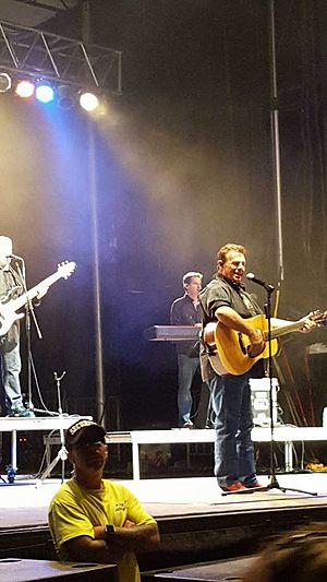 Sammy Kershaw - Sammy Kershaw live in concert, with band members Steve Farmer (piano) and Robert Wright (bass guitar), Norway, Michigan - July 3, 2016