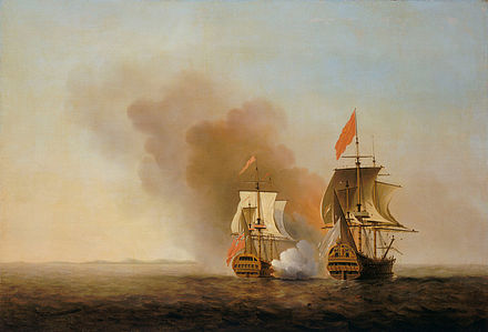 George Anson's capture of a Manila galleon, painted by Samuel Scott before 1772 Samuel Scott 1.jpg