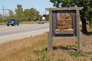 San Martin, California - Welcome sign on Monterey Road