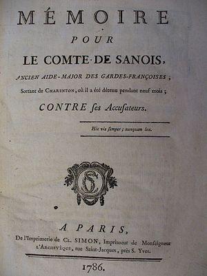 Comte de Sanois - Memoir of Lacretelle