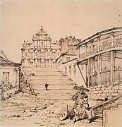 Pen and ink over pencil on paper of the church and steps of St. Paul, Macao from October 18, 1834.